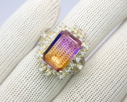 Stunning Bolivianite Or Ametrine Ring In Sterling Silver