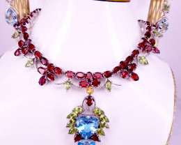 Natural Topaz Peridot And Rhodolite Garnet Set