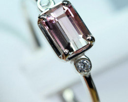 huge size Transparent bi color Clean Tourmaline ,CZ 925 Silver Ring