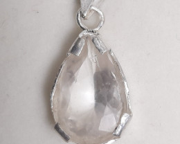 11 carat very rare pollucite 925 silver pendents, 15x10x6mm.