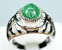Natural Precious  Top Green Color 3 Carat Emerald 925 Silver Ring
