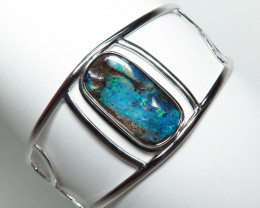 Australian Boulder Opal Free form Hand Made Silver Bangle