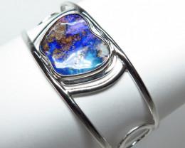 Australian Boulder Opal Free form Hand Made Silver Bangle