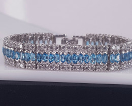 Natural Topaz with CZ bracelet.
