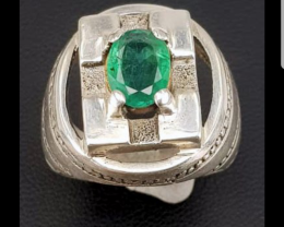 Natural Zambian Emerald Antique Ring.