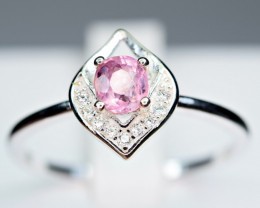 Natural top Burmese Pink Spinel ,CZ 925 Silver Ring