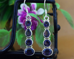 Stunning Genuine Amethyst Ear Studs / Earrings In Silver