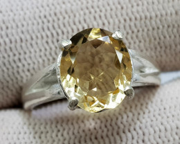 Natural Yellow Citrine 19.40 Carats Hand Made Silver Ring
