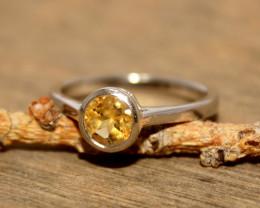 Natural Citrine 925 Silver Ring 373