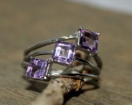 Natural Amethyst 925 Silver Ring 363