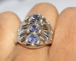 Natural Amethyst 925 Silver Ring 371