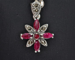 Antique Style Ruby Stone and Silver Pendant