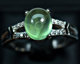 Natural lustrous Top color Brilliant huge Prehnite , CZ 925 Silver Ring