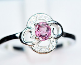 Natural top Burmese lovely color Spinel ,CZ 925 Silver Ring