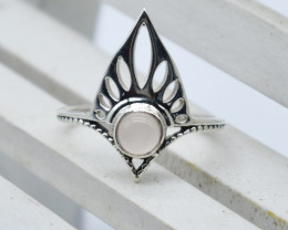 ROSE QUARTZ RING 925 STERLING SILVER NATURAL GEMSTONE JR1013