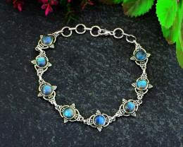 Stunning Genuine Labradorite Bracelet In .925 Silver