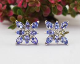 Stunning Genuine Tanzanite Ear Studs / Earrings In Silver