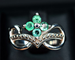 Natural Precious Top Quality 4Pis 3mm Round Emerald on 925 Silver Ring
