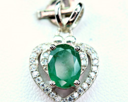 Precious1.53Carat Top Green Emerald ,CZ Heart Shape 925 Silver Pendant