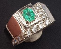 Natural Emerald and CZ Man Rings.