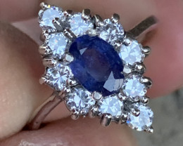 Natural Sapphire Ring with CZ.