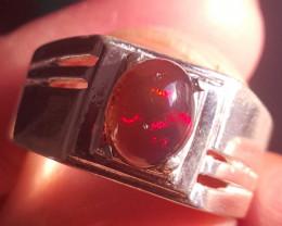 Natural Black Opal Ring.