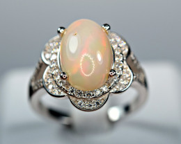 Natural Excellent Flashy Multi Fire Top Opal Cabochon ,CZ925Silver Ring