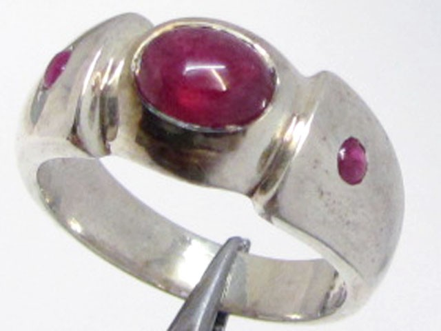 ruby set in silver ring