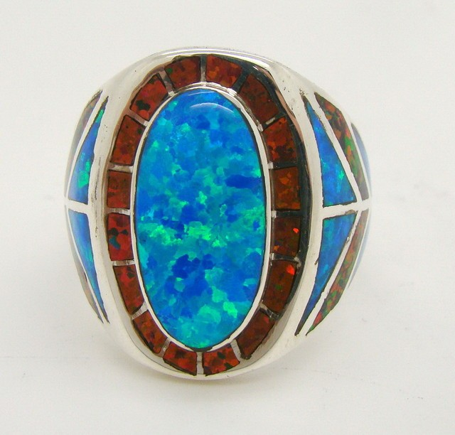 man made black opal ring