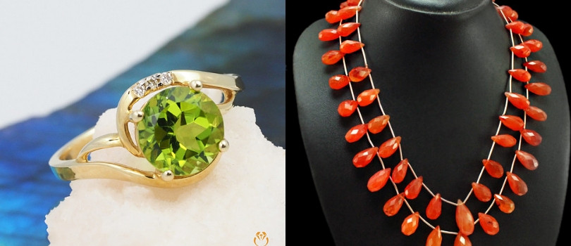 August birthstones - Peridot and Carnelian gemstones