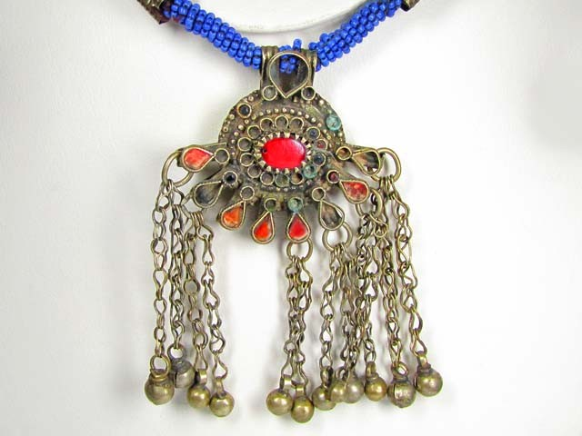 TRADITIONAL TIBETAN SILVER NECKLACE  437  CTS TR 883