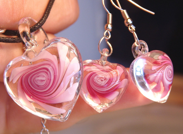 Pink Glass Earrings and Pendant - Pretty and Affordable