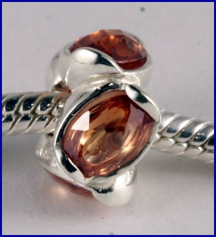 Sterling Silver Charm set with created Garnet SG04