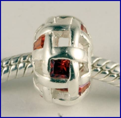 Sterling Silver Charm set with created Rubies SG20