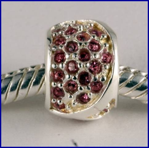 Sterling Silver Charm set with created Rubies SG37