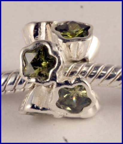 Sterling Silver Charm set with created Peridot SG41