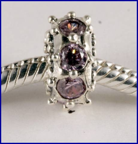 Sterling Silver Charm set with created Amethyst SG45