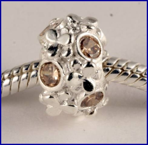 Sterling Silver Charm set with created Citrine SG48