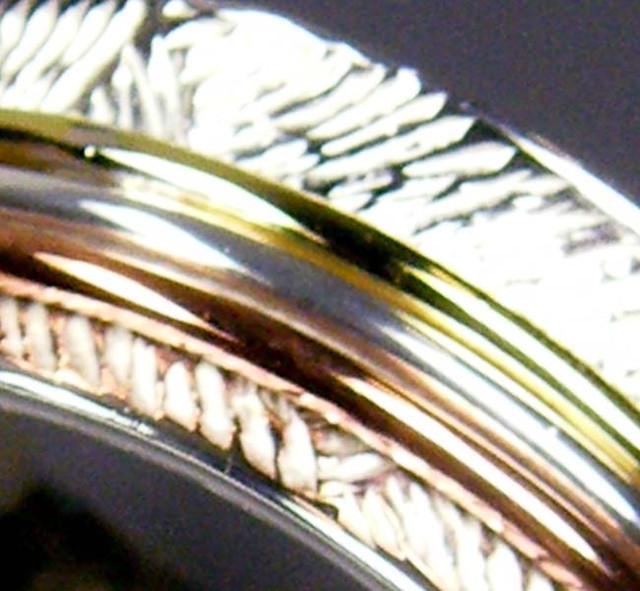 COPPER BRASS HAND ETCHED SILVER RING SIZE 8 GTJA668