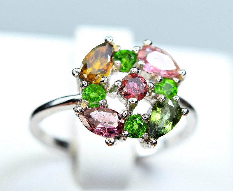 Natural Multi Tourmaline 925 Silver Ring