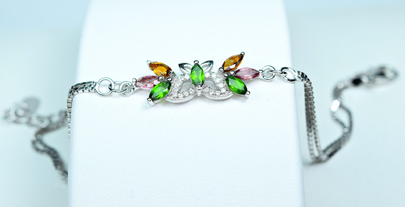 Natural several  Multi Tourmaline  ,CZ 925 Silver Butterflies shape  Bracel