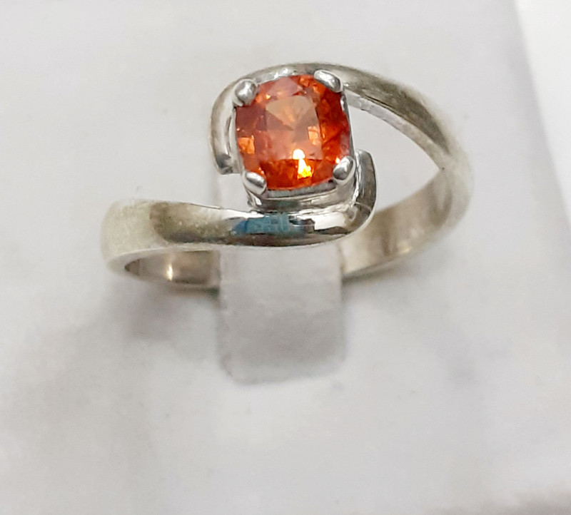 Natural Spessartite Garnet 925 Silver Ring