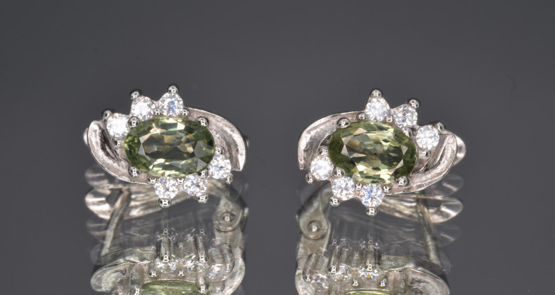 Natural Green Sapphire , CZ and 925 Silver Ring