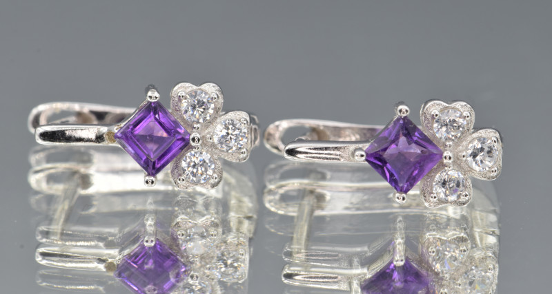 Natural Amethyst , CZ and 925 Silver Earrings