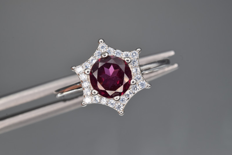 Natural Rhodolite Garnet, CZ and 925 Silver Ring