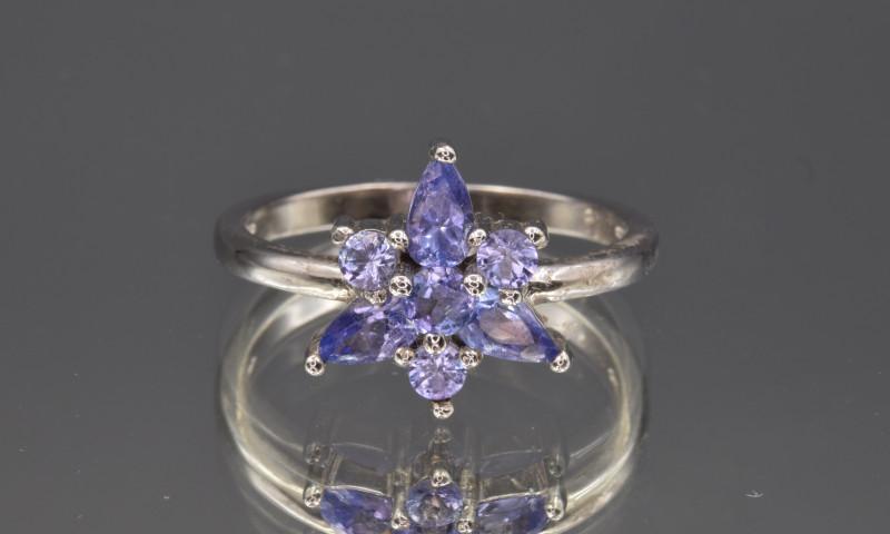 Natural Tanzanite and 925 Silver Ring
