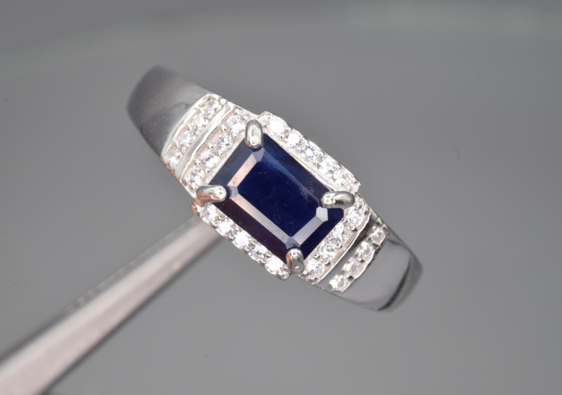 Natural Sapphire , CZ and 925 Silver Ring