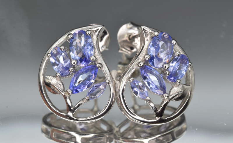 Natural Tanzanite and 925 Silver Earrings