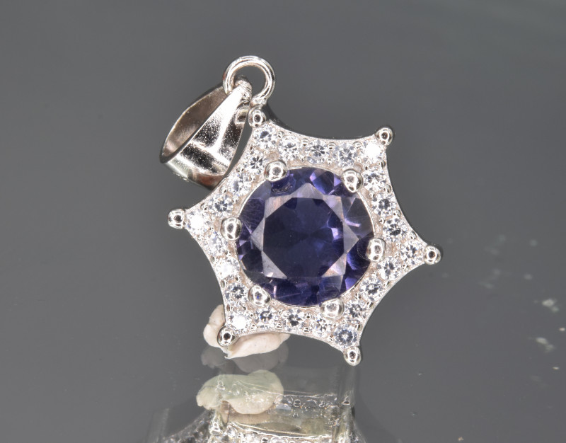Natural Iolite ,CZ and 925 Silver Pendant