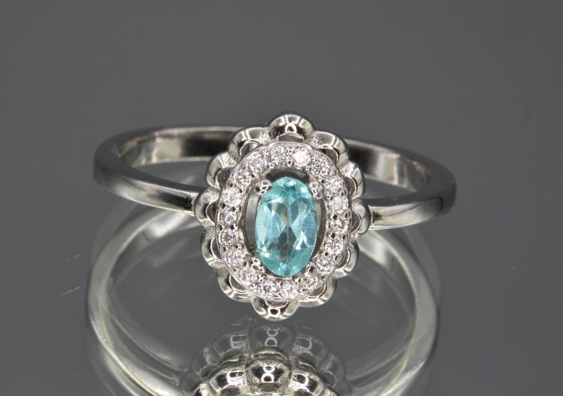 Natural Apatite , CZ and 925 Silver Ring